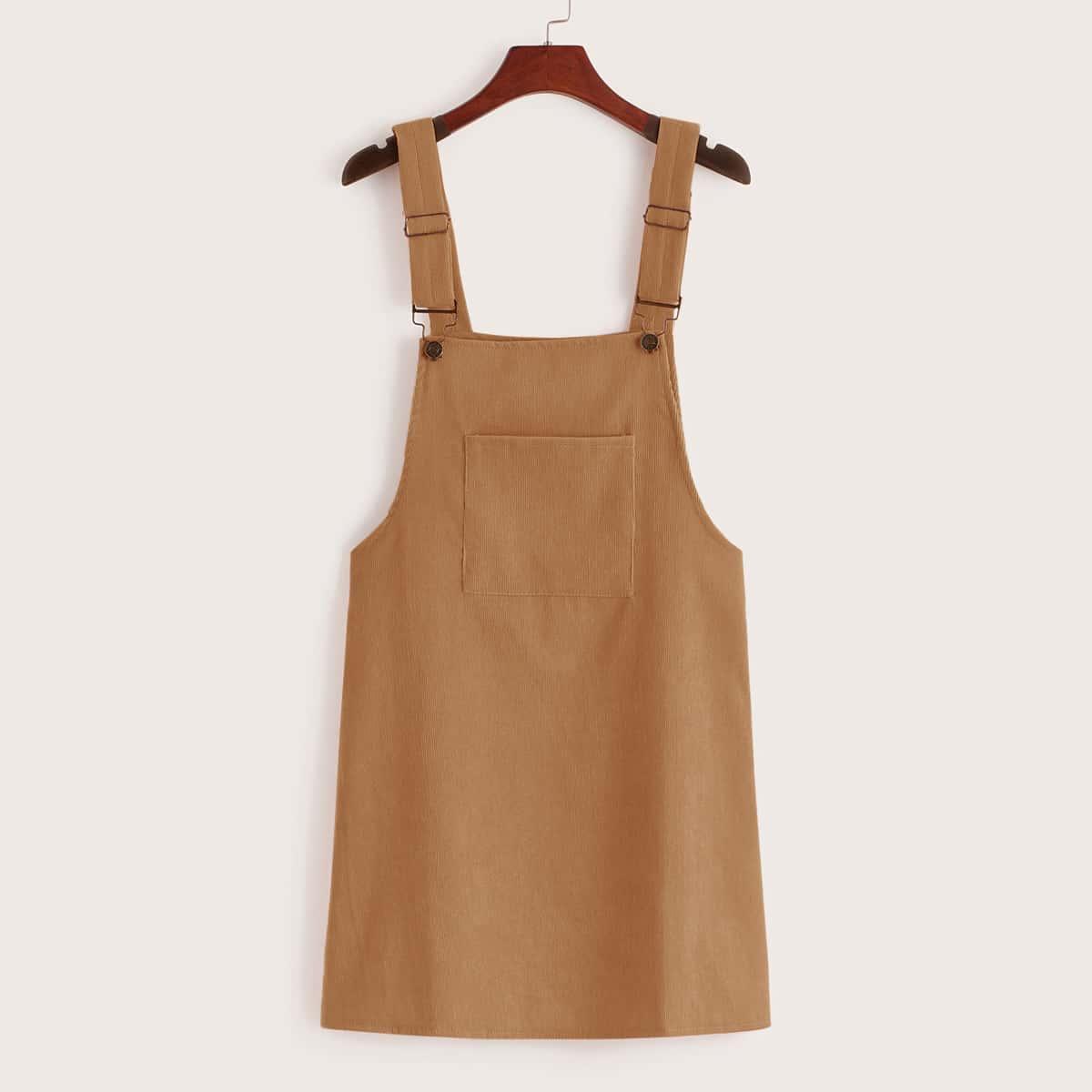 Вельветовое платье-сарафан с карманом от SHEIN