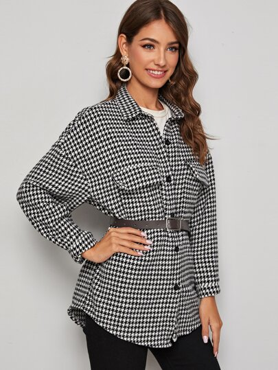 Houndstooth Print Tweed Coat Without Belt