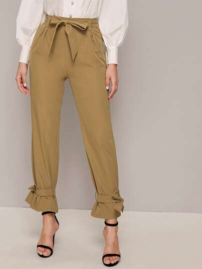 Self Tie Knotted Hem Pants