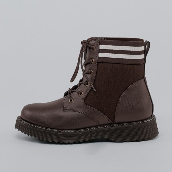 Lace Up Side Goring Stripe Military Boots, Brown