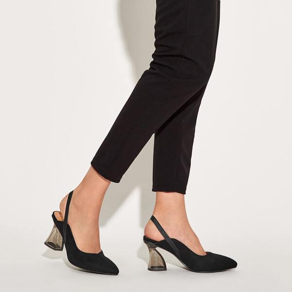 Point Toe Slingback Chunky Heels, Black