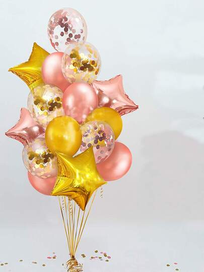6pcs Star Balloon & 6pcs Latex Balloon & 6pcs Confetti Balloon