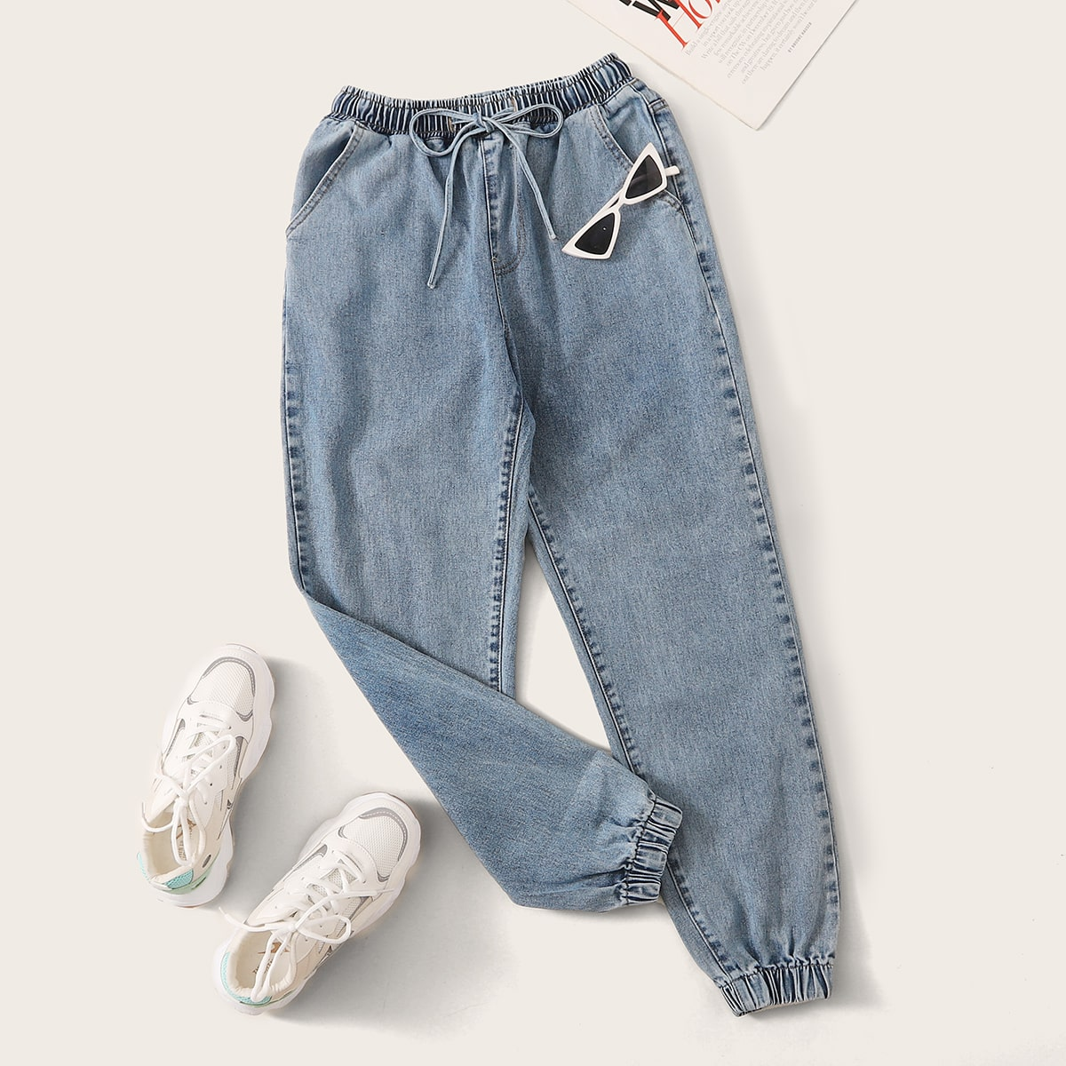 High Waisted Drawstring Waist Tapered Jeans