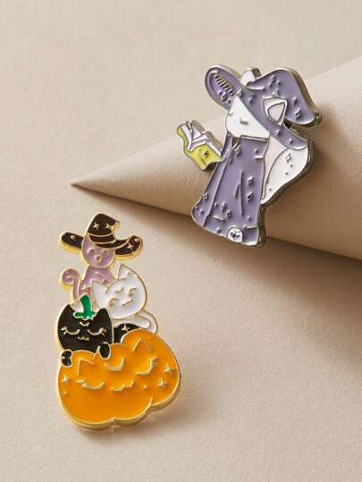 2pcs Cat & Wizard Shaped Brooch