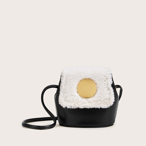 Mini Contrast Faux Fur Flap Crossbody Bag, Black