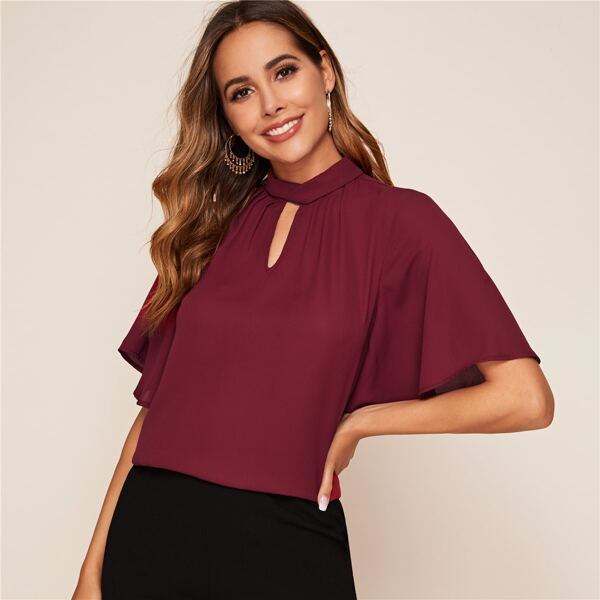 Pleated Keyhole Neck Flutter Sleeve Top, Burgundy