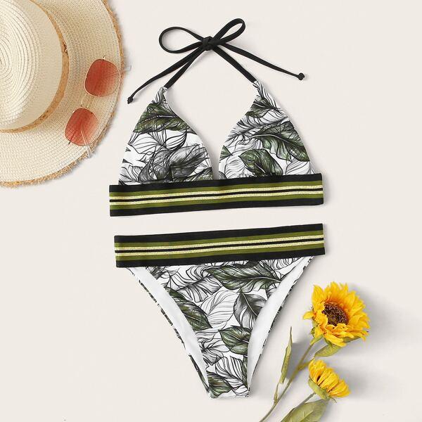 Tropical Triangle Cheeky Bikini Swimsuit, Multicolor