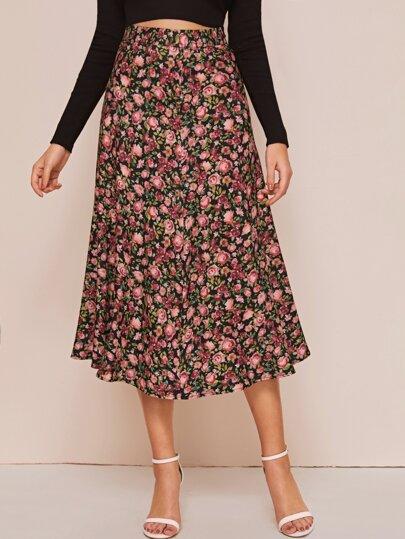 Floral Print Elastic Waist Skirt