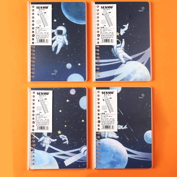 1pack Random Astronaut Print Loose-leaf A5 Notebook