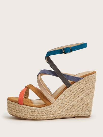 Color Block Strappy Espadrille Wedges