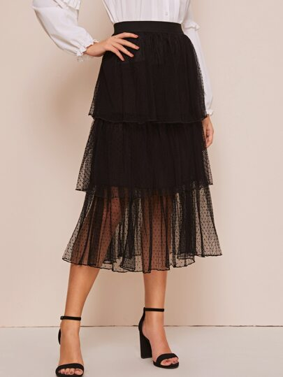 Dobby Mesh Tiered Layered Skirt