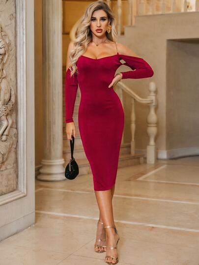 Glamaker Sweetheart Neck Chain Detail Bodycon Prom Dress