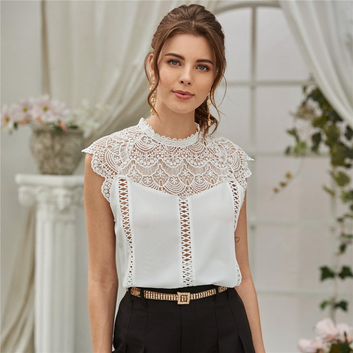 Полая блуза крючком с застежкой сзади