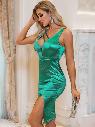 Glamaker Strappy Plunging Neck Split Satin Dress