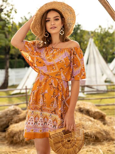 Paisley Print Off Shoulder Ruffle Dress