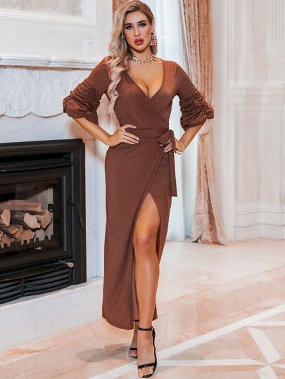 Glamaker Gathered Sleeve Wrap Knot Deep V Neck Glitter Dress