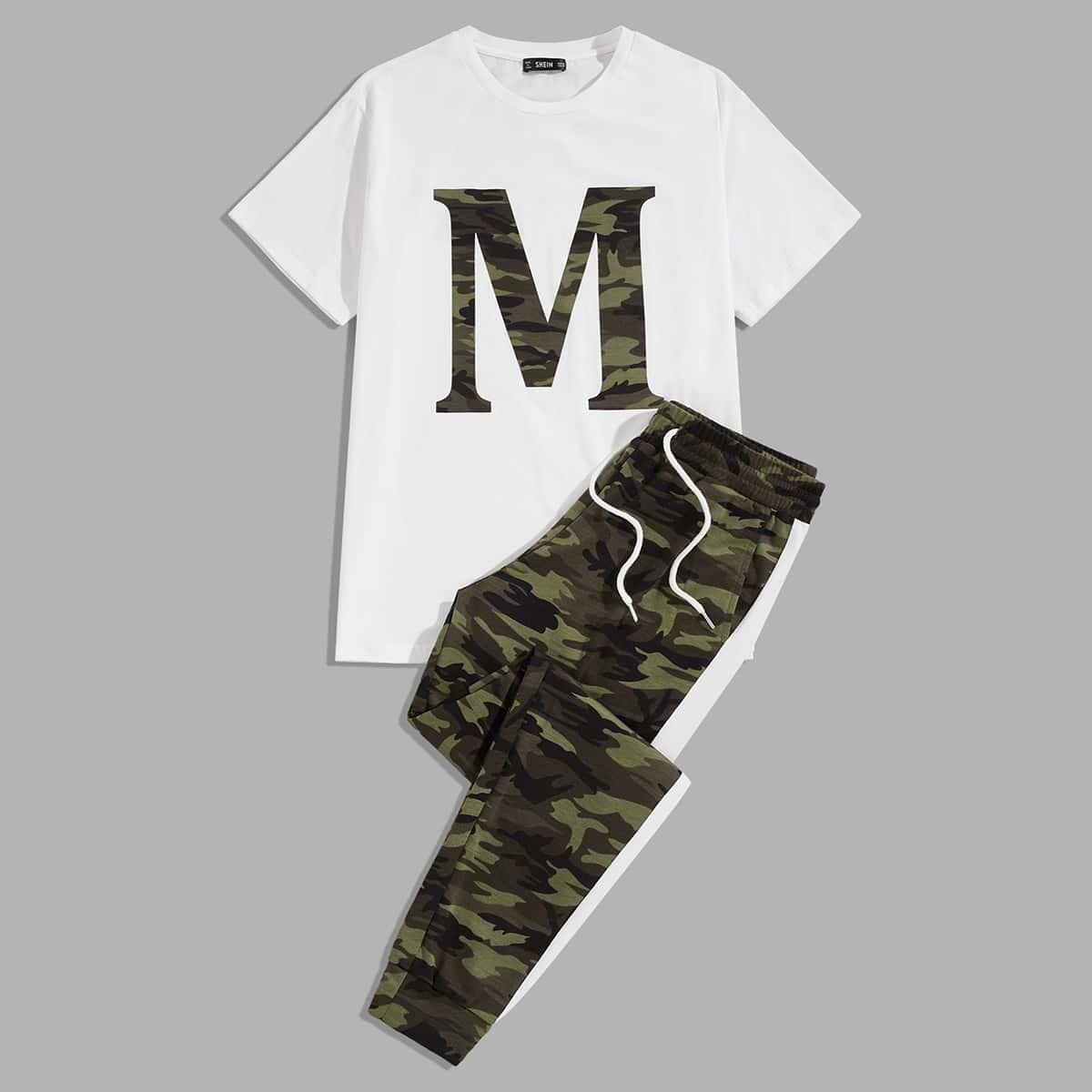Мужской топ с текстовым принтом и камуфляжные спортивные брюки
