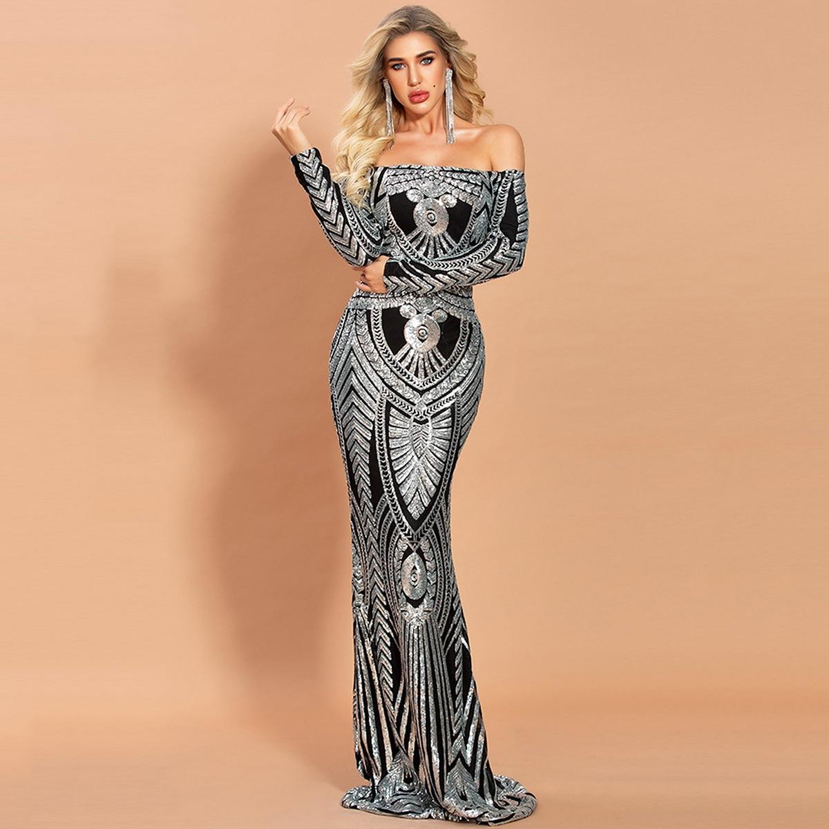 Off Shoulder Damask Sequin Formal Dress