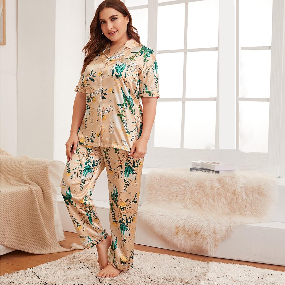 shein Goud Casual Bloemen Grote maten pyjama sets Voorpand met Knoopjes