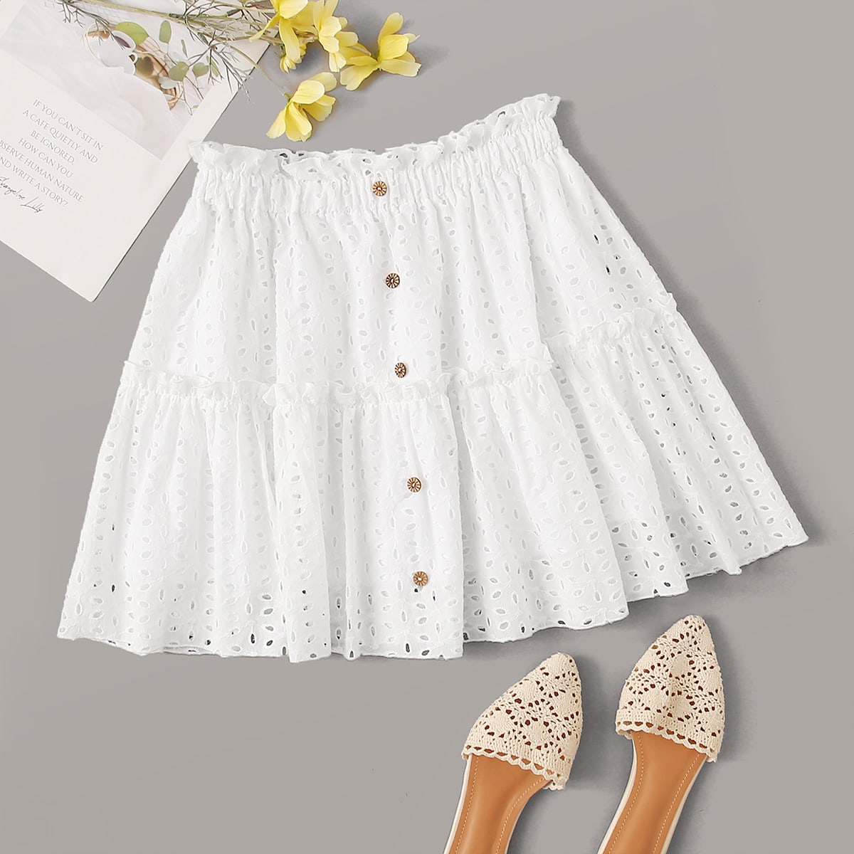 Ruffle Waist Buttoned Front Eyelet Embroidery Skirt