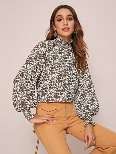 Shirred Cuff Ditsy Floral Print Blouse