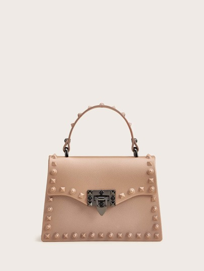 Studded Decor Flap Satchel Bag