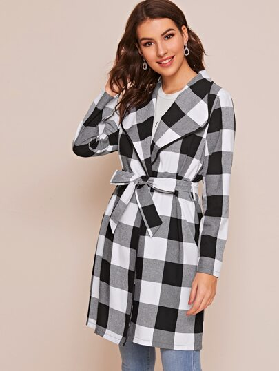 Gingham Self Tie Waterfall Collar Coat