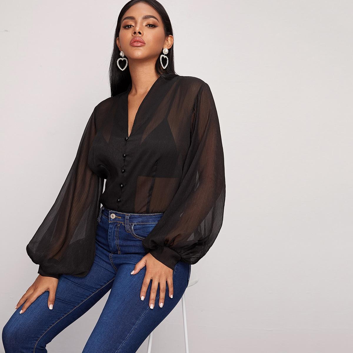 Schwarz Knöpfen vorn Einfarbig Sexy Blusen