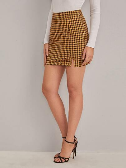 Houndstooth Print Split Hem Skirt