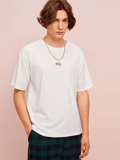 Guys Lips Embroidery White Tee