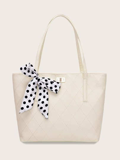 Polka Dot Twilly Scarf Tote Bag