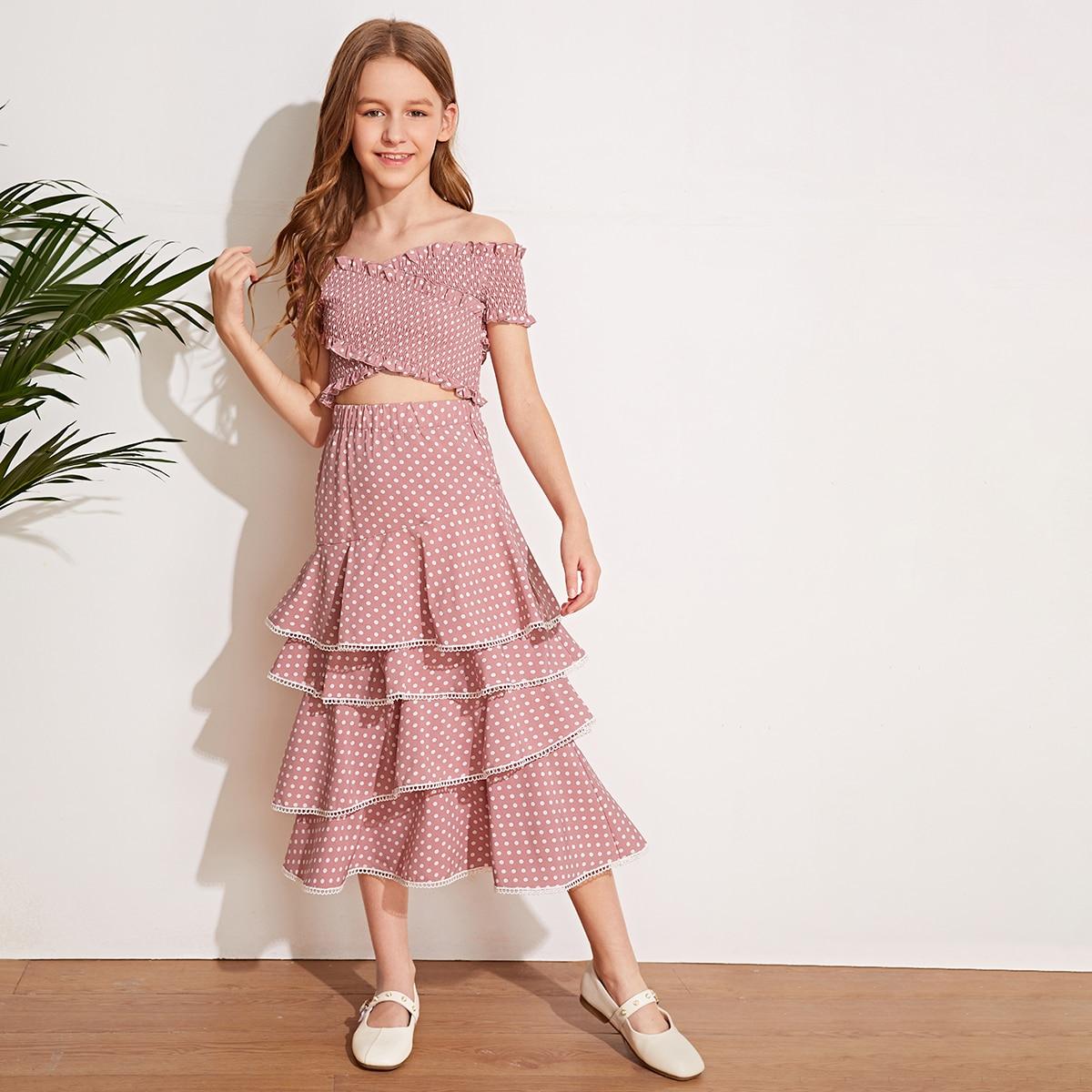Топ с открытыми плечами и юбка с оборками для девочек