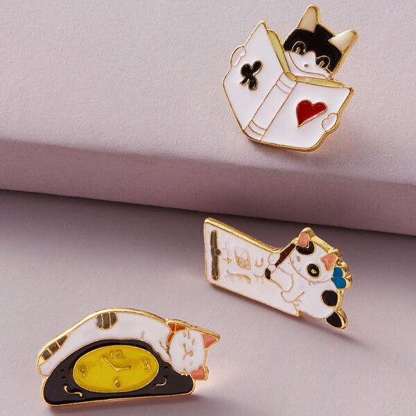 3pcs Cute Cat Shaped Brooches, Multicolor