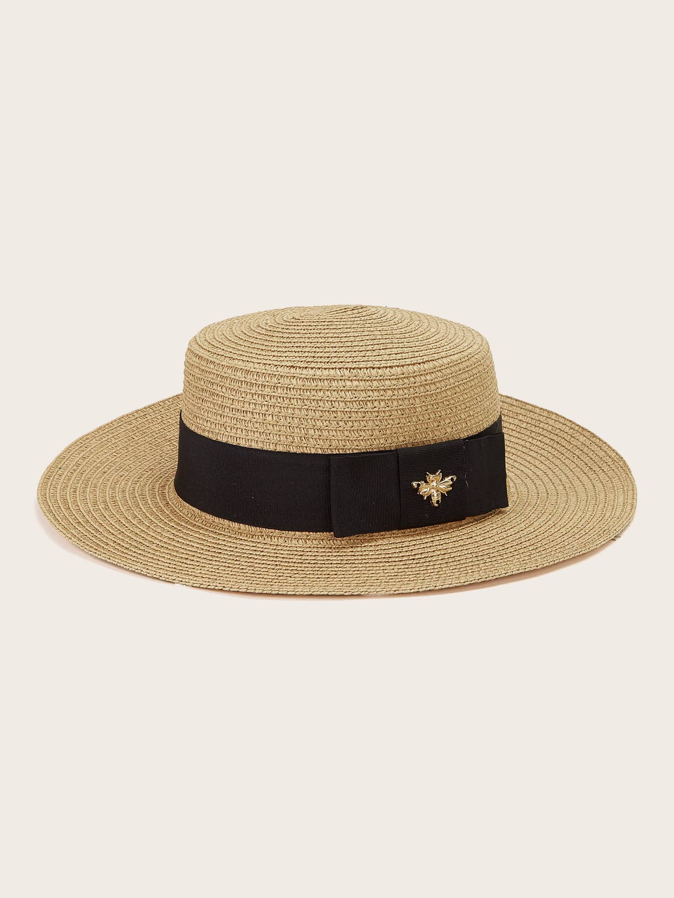 bee decor straw hat