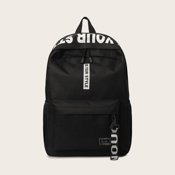 Men Letter Graphic Pocket Front Backpack, Black