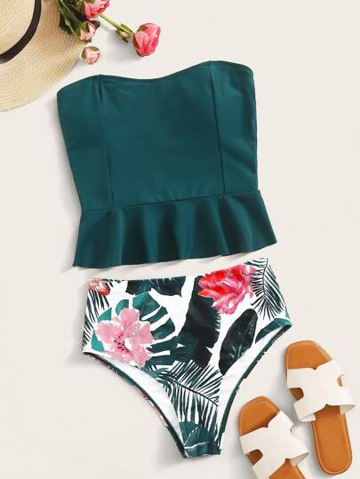 Ruffle Trim Bandeau With Tropical High Waisted Tankini