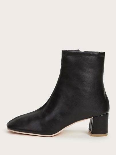 Square Toe Side Zip Chunky Boots