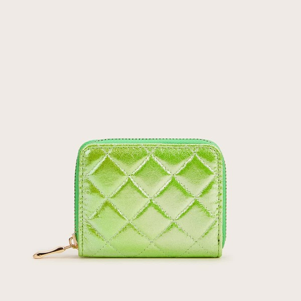 Neon Lime Quilted Purse, Green