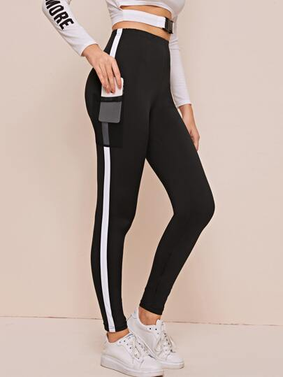 Contrast Panel Leggings With Phone Pocket