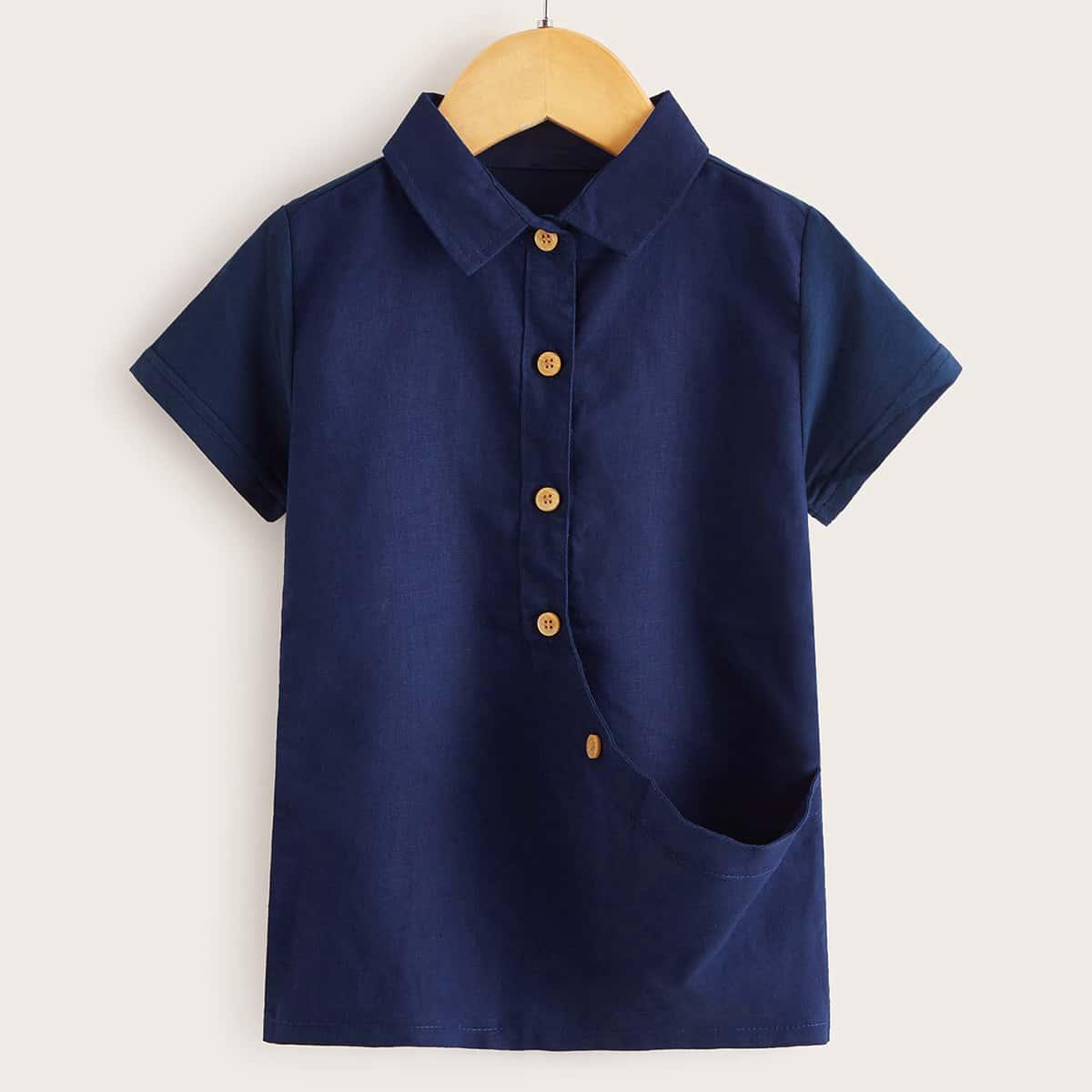 Toddler Boys Button Front Solid Shirt