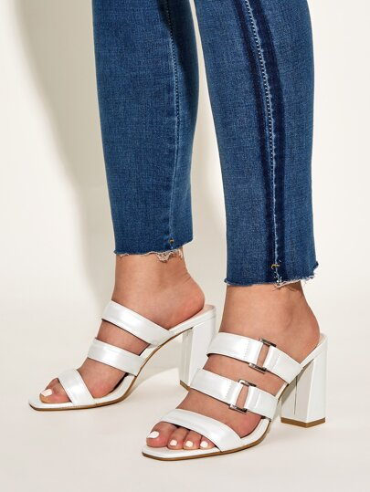 Open Toe Chunky Heeled Mules