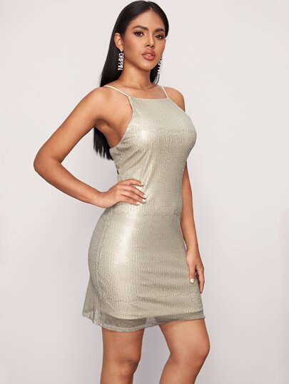 Open Back Fitted Sequin Cami Dress