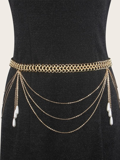 Faux Pearl Charm Layered Waist Chain