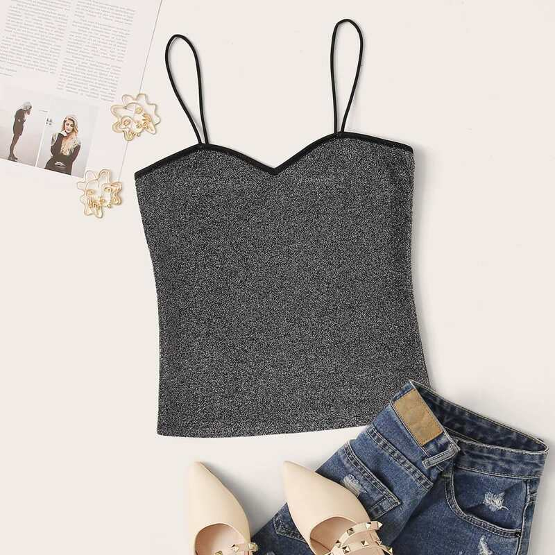 Contrast Binding Glitter Cami Top, Grey