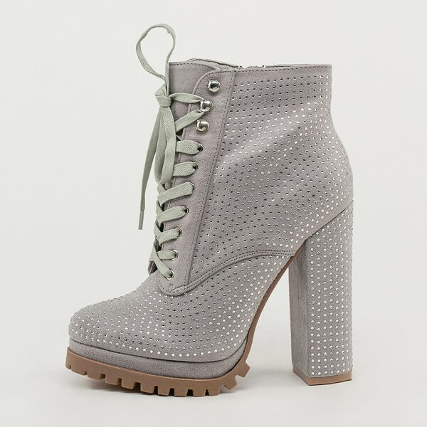 Crystal Lace Up Platform Lug Sole Ankle Boots, Grey