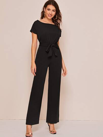 Self Belted Wide Leg Jumpsuit