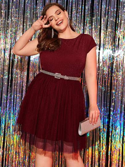 Plus Glitter Mesh Overlay A-line Dress Without Belted