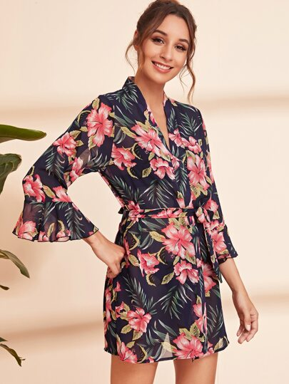 Floral Print Flounce Sleeve Belted Robe