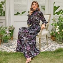 Shirred Neck & Waist Floral Dress