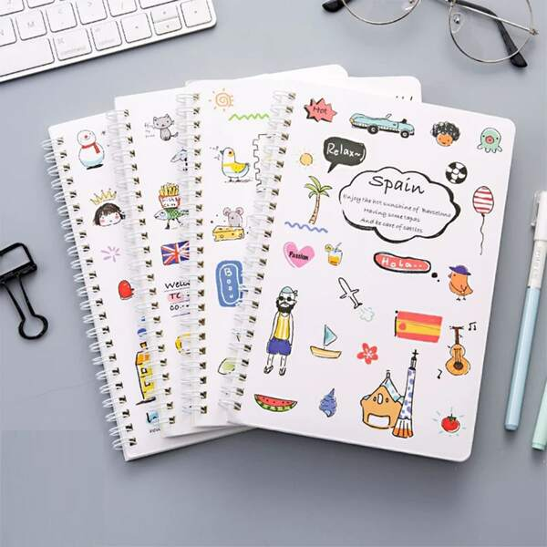 4packs Cartoon Graphic Cover A5 Spiral Notebook